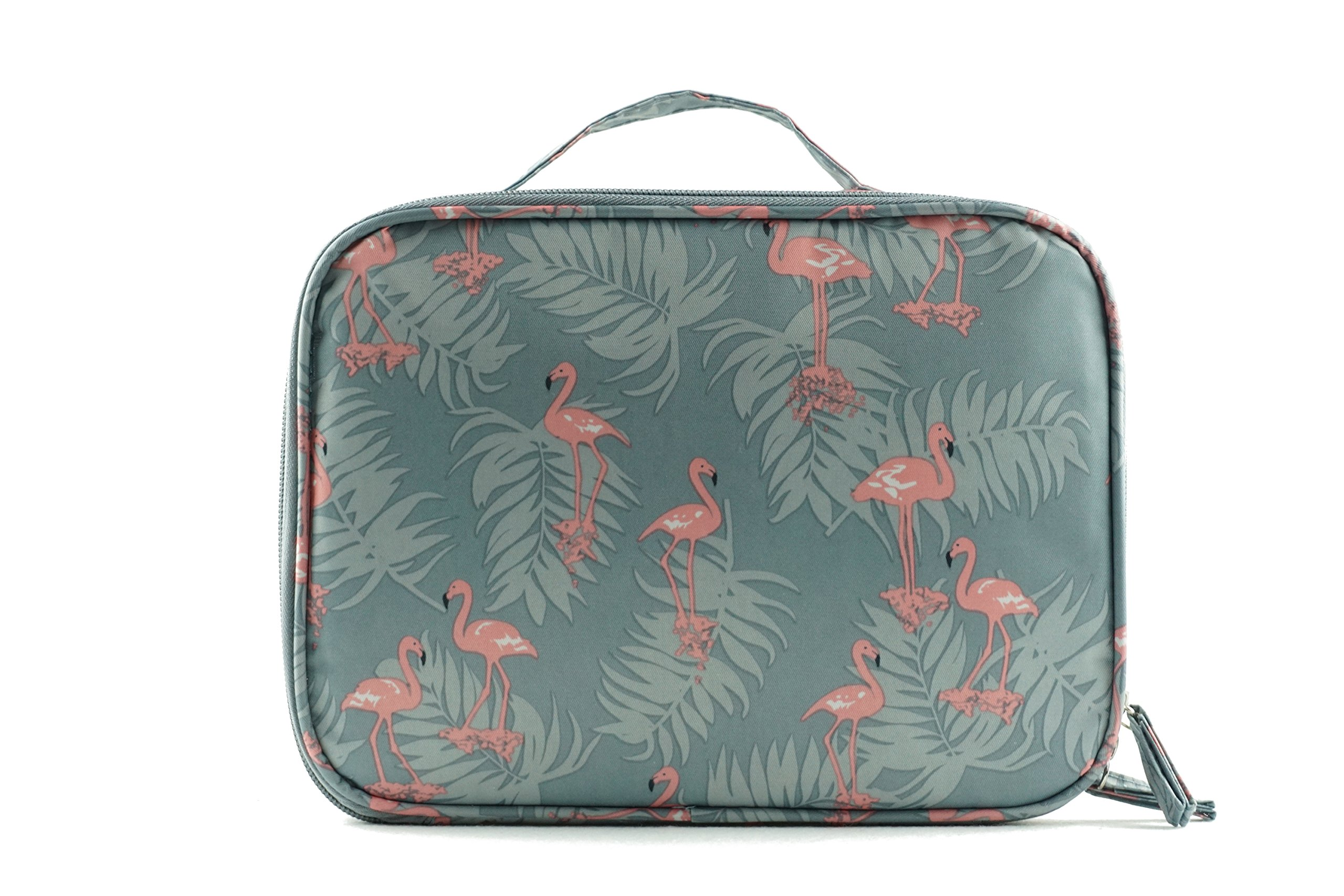 KUPIDER High Capacity Cosmetic Bags, Women Girls Waterproof Travel Bag, Portable Cosmetic and Toiletries Organizer Bag with Removable Partition for Makeup Brushes (Grey Flamingo)