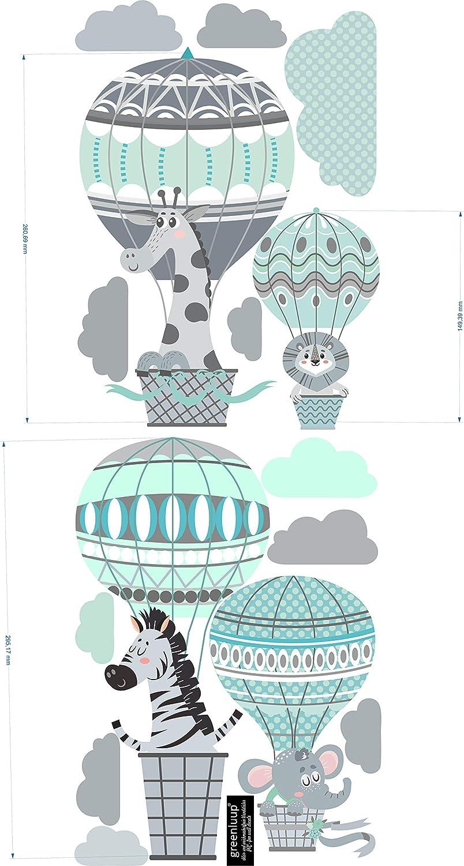 C4 greenluup Wandsticker Wandtattoo Kinderzimmer Hei/ßluftballon Hellblau Grau Tiere Wolken Waldtiere Kinderzimmer Babyzimmer Baby