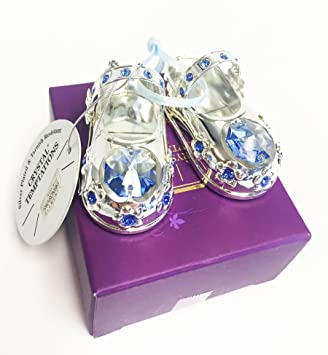 2865d8fc275 Christening Baby Boy Gift Silver Plated Baby Shoes with Swarovski Elements