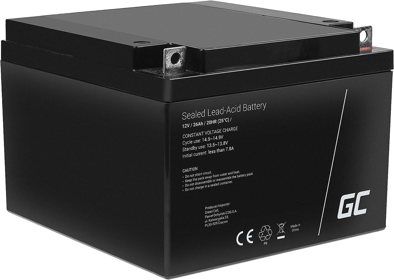 Green Cell Recambio de Batería Gel AGM 12V 26Ah Rechargeable Pila Sellada de Plomo ácido batería sin Mantenimiento Batería de Reemplazo para Sillas de Ruedas Carro de Golf Solar