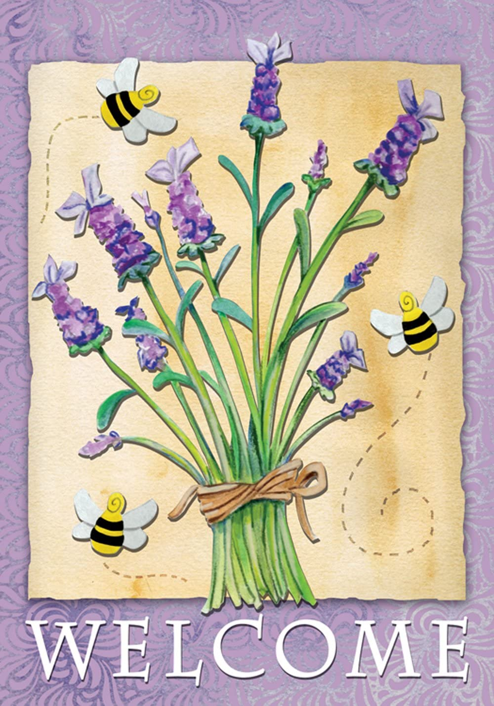 Toland Home Garden Lavender Welcome 28 x 40 Inch Decorative Spring Summer Buzzing Bee Flower House Flag