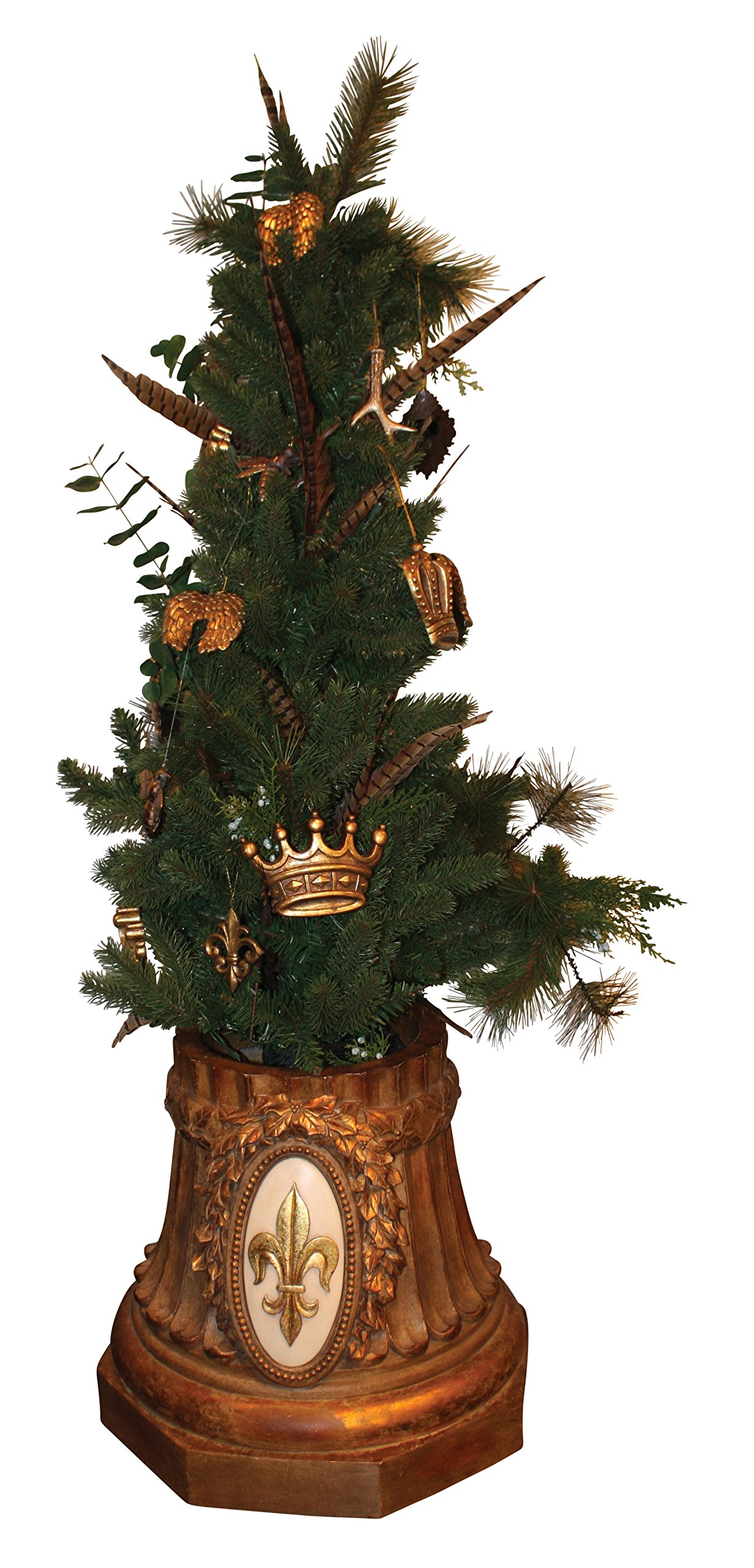 Ornate Gold Monogrammed Tree Holder | Personalized Christmas Xmas Urn Stand by My Swanky Home (Image #2)