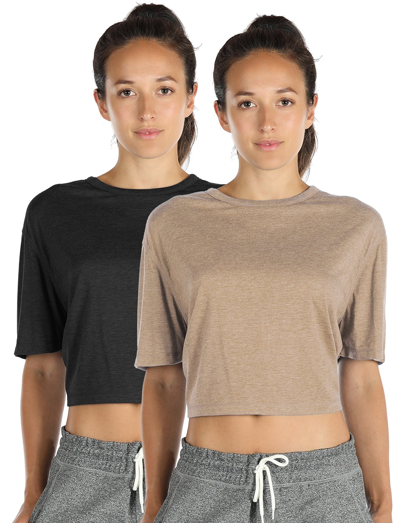 icyzone Open Back Workout Top Shirts - Yoga t-Shirts Activewear Exercise Crop Tops for Women (S, Black/Beige)