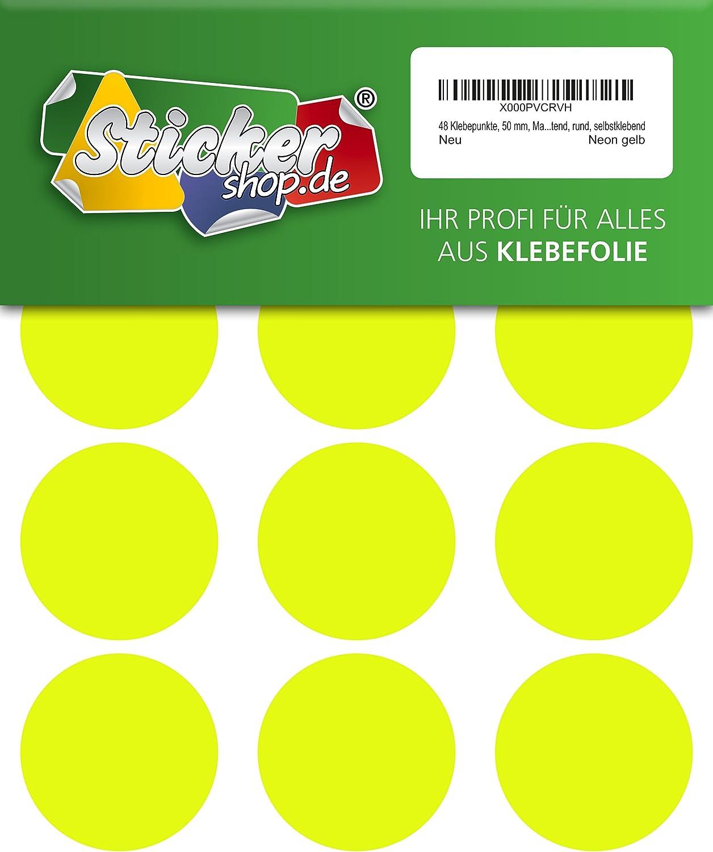Foil Round PVC Neon Yellow Luminous Self Adhesive Vinyl Dots 50mm Marking Dots 48 Adhesive Dots