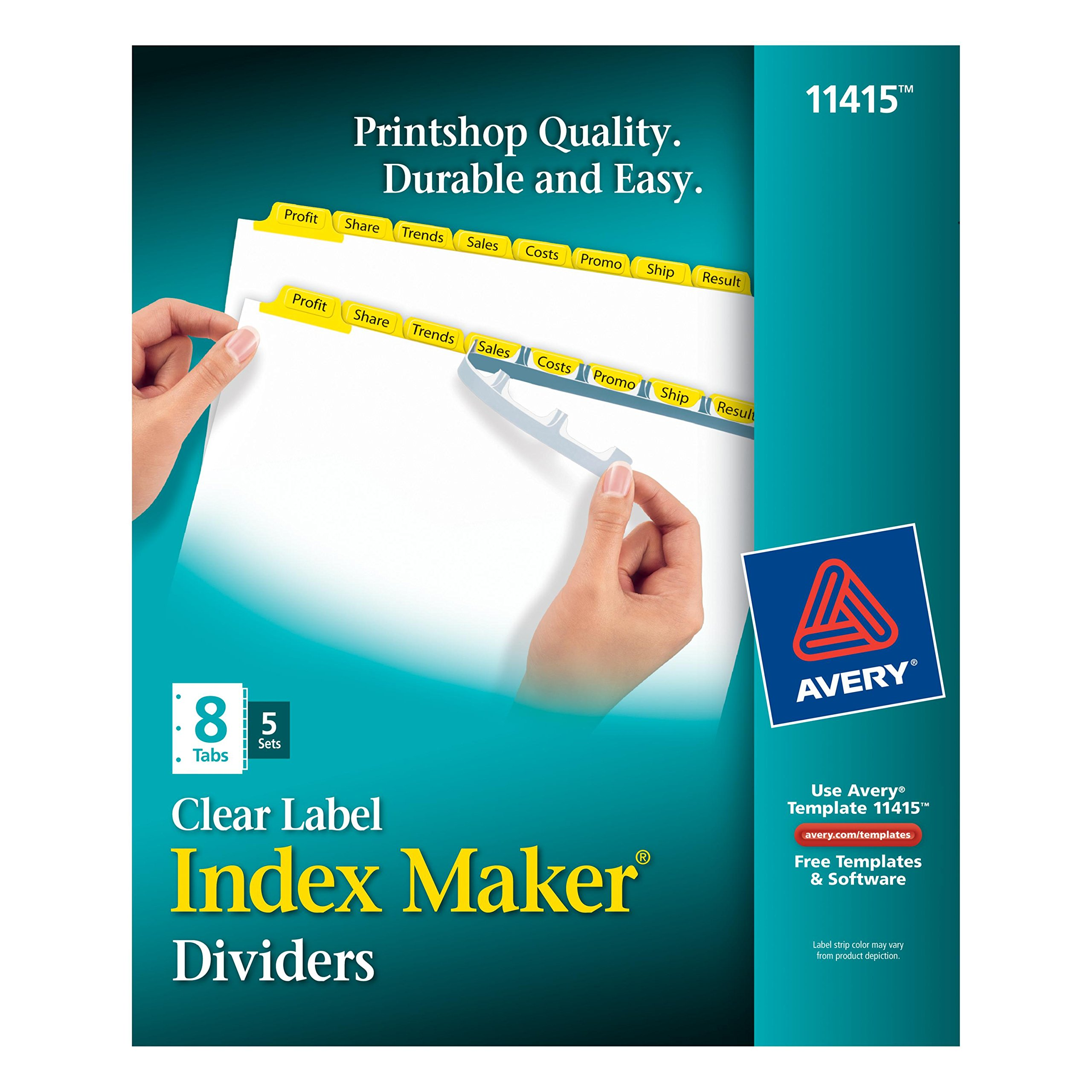 Avery Index Maker White Dividers with Yellow Tabs, 8-Tab, 5 Sets (11415)