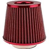 """3"""" Filtro de Aire para Coche Kits de Admisión de Aire Frío Universal Afilado Redondo Fibra de Carbono - Rojo"""