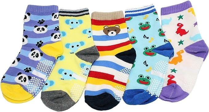 Pack of 5 Baby Kids Boys Stripe Cars Non-slip Grip Socks