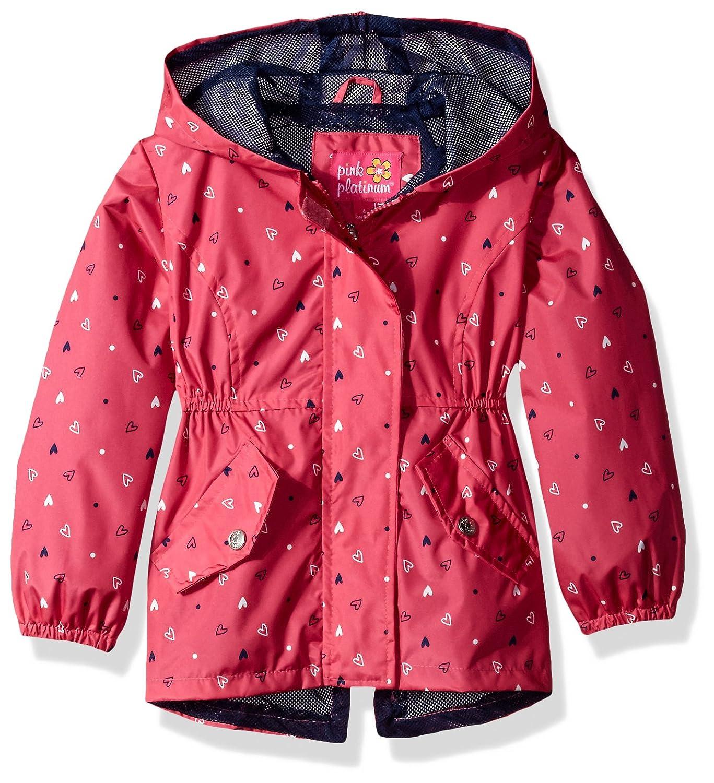 Pink Platinum Girls Heart Print Anorak W//mesh Lining