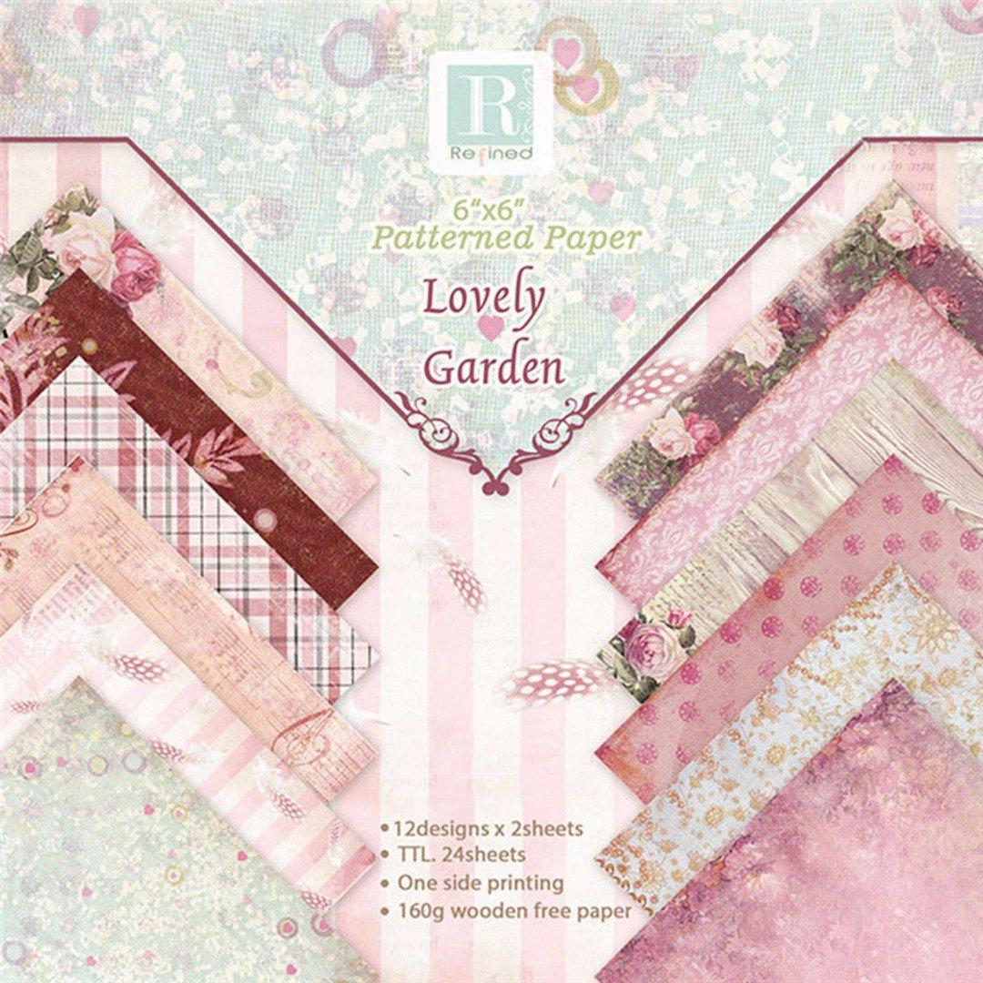 SANDIN 24pcs Gemustertes Papier Scrapbooking Papier Romantische Blumen Vintage Album Scrapbook Karten Hintergrund Papier