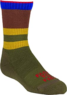 product image for Farm to Feet Everyday Stripe Crew Socks, Winter Moss/Mustang, Large