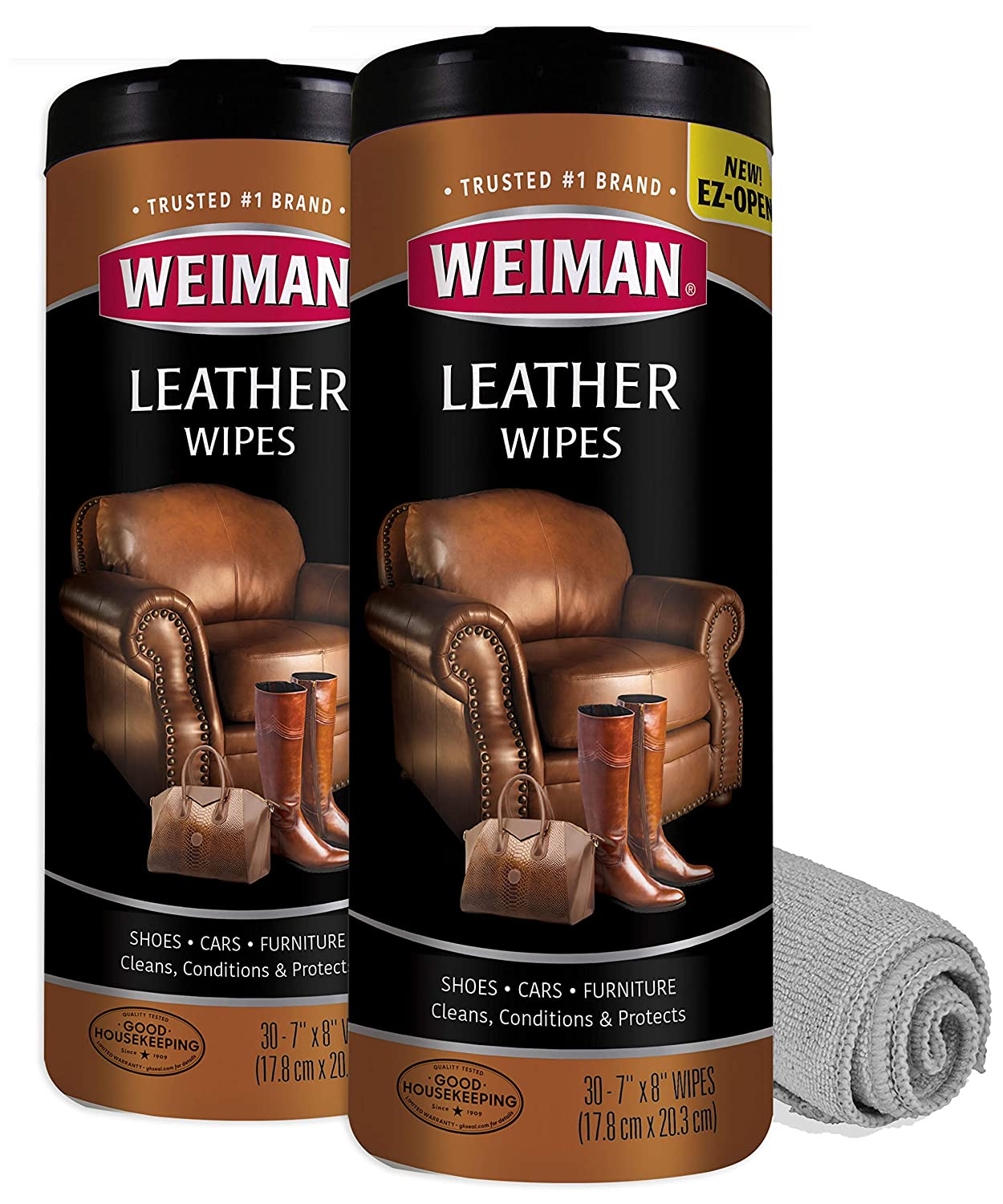 Weiman Leather Cleaner Wipes - 2 Pack with Microfiber Cloth - Clean Condition UV Protection Help Prevent Cracking or Fading of Leather Furniture, Car ...