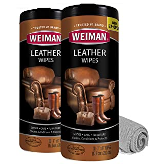 Weiman Leather Cleaner Wipes - 2 Pack with Microfiber Cloth - Clean Condition UV Protection Help Prevent Cracking or Fading of Leather Furniture, Car Interior, and Shoes