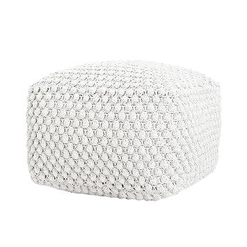 Design Strick Pouf Weiß 55cm Sitzhocker In Handarbeit Gestrickt