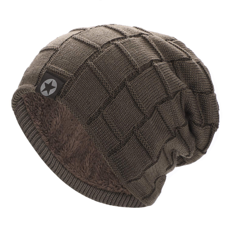 AYPOW Baggy Beanie-Mütze, Unisex-Winterwinddichte warme Strickmütze Ski Slouchy Skull Hat Weiche, gemütliche Fleece-Ohrenschützer Strickmützen für Erwachsene Männer Frauen - elastische Größe