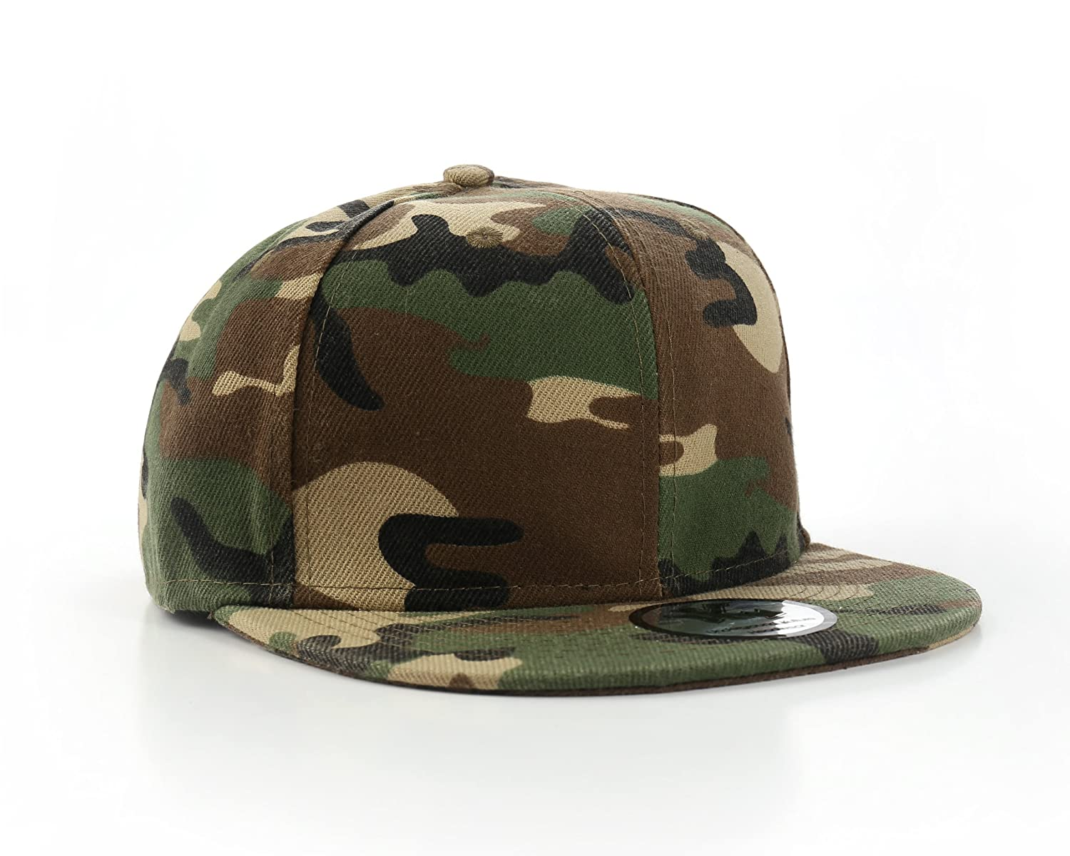 Plain Camo / Army Fitted Flat Peak Baseball Cap 7 3/8""