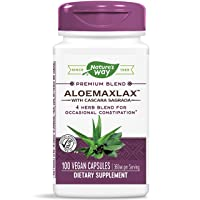 Nature's Way AloeMaxLax with Cascara Sagrada for Occasional Constipation, 360 mg per serving, 4 Herb Blend, 100 Capsules