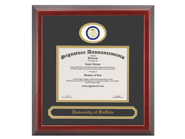 Signature Announcements University-at-Buffalo Undergraduate Sculpted Foil Seal /& Name Graduation Diploma Frame 16 x 20 Matte Mahogany
