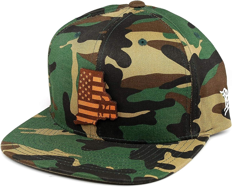 OSFA//Camo Branded Bills /'Rhode Island Patriot/' Leather Patch Snapback Hat