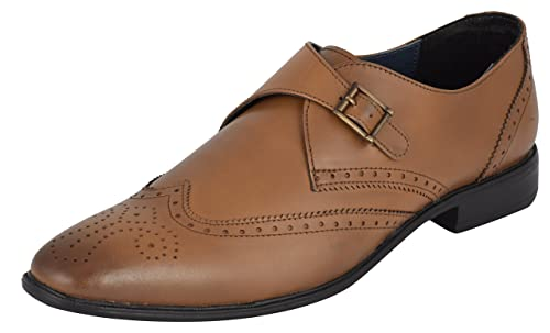 Auserio Men S Tan Genuine Leather Monk Strap Shoes Buy Online At