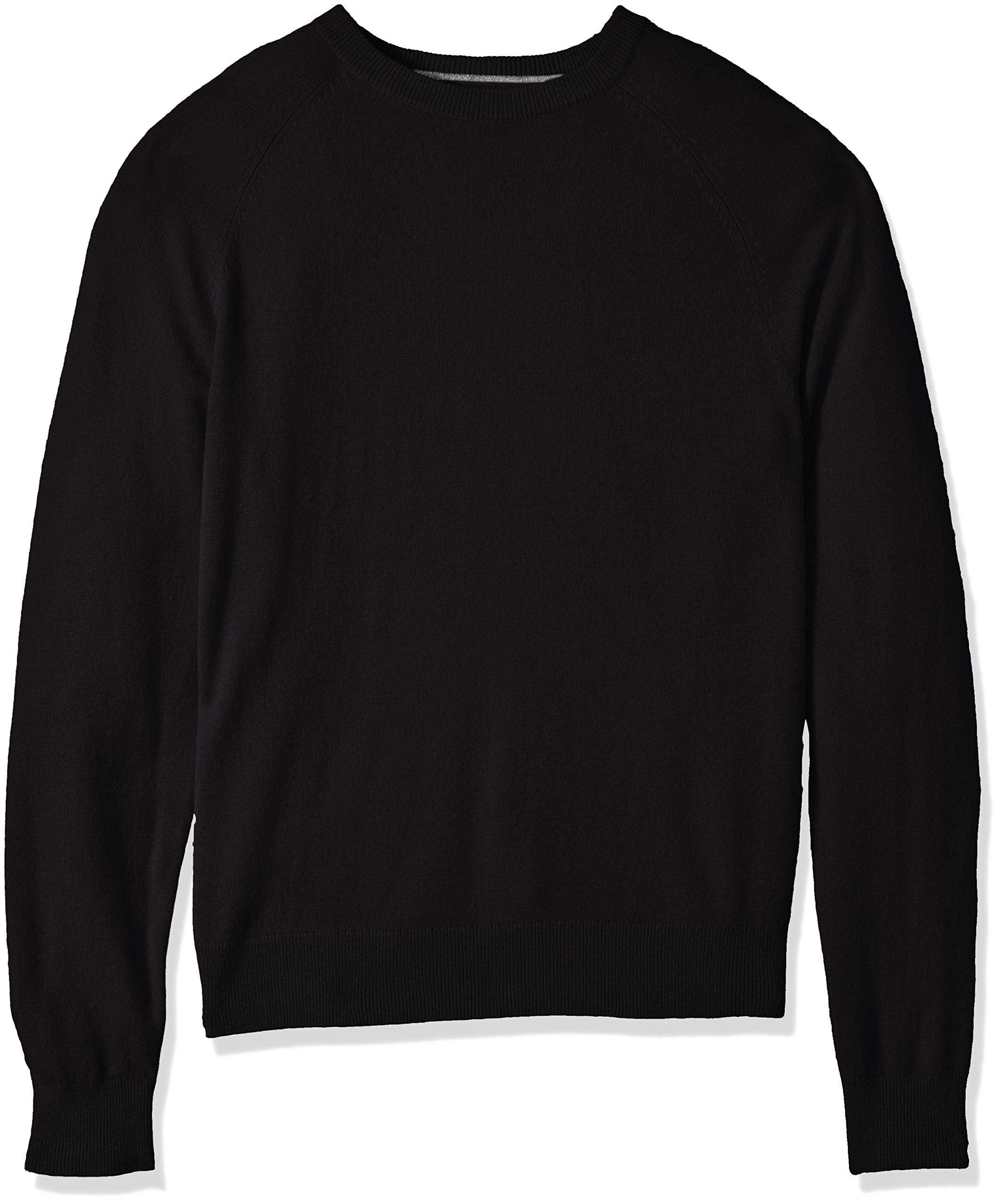 BUTTONED DOWN Men's 100% Premium Cashmere Crewneck Sweater, Black, Small