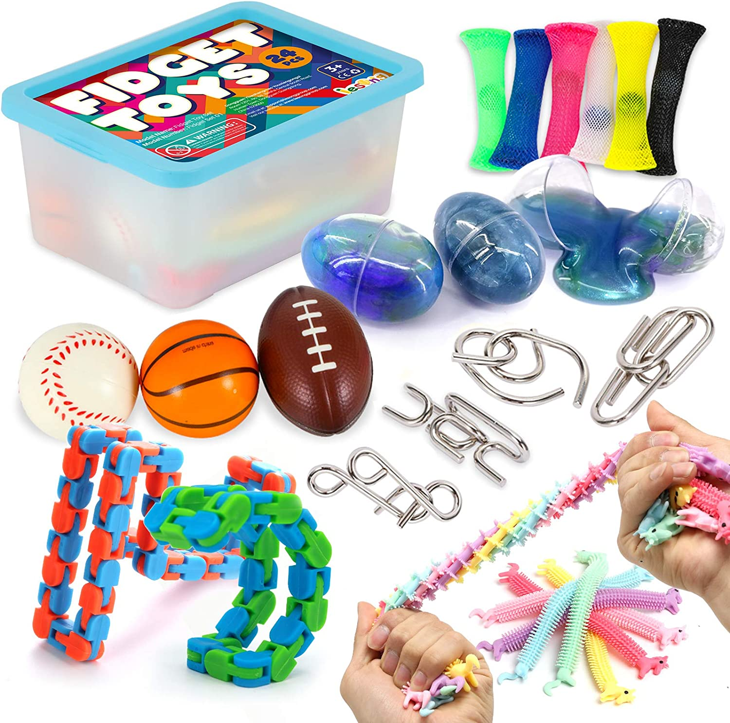 Fidgeting Game For ADHD ADD Autism with Metal Puzzle Slime Eggs Stress Ball Fidget Toys Set 24Pack Unicorn Stretchy String Sensory Relieves Stress /& Anxiety Squeeze Toys For Kids Teens and Adults