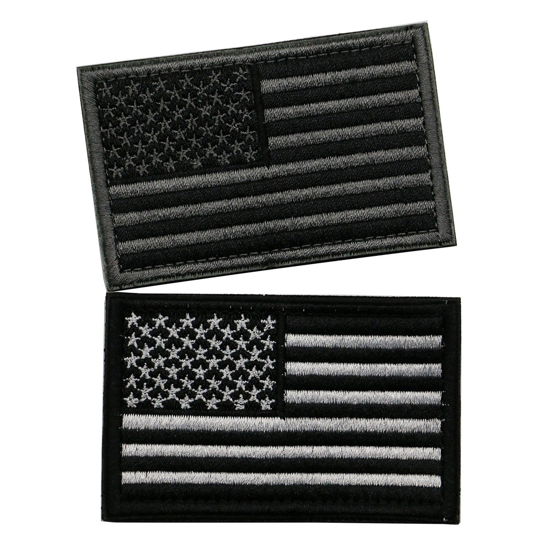 バンドル2ピースタクティカルUSフラグパッチ – アメリカ国旗パッチwithフック/ループBacking by stormshopping Velcro Patch Set  グレー & ホワイト B06XPMGYPL
