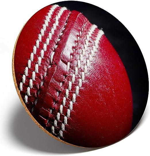 1 posavasos redondo de color rojo con diseño de pelota de cricket ...