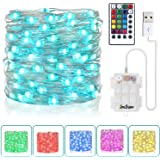 Fairy String Lights Battery Operated & USB Plug-in 33Ft 100 LEDs 16 Color Changing Lights and 8 Lights Mode Remote…