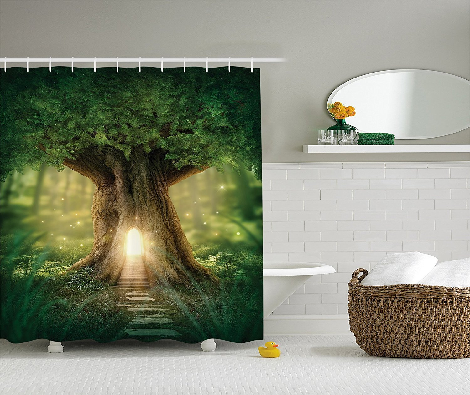 """Tree of Life Shower Curtain Bohemian Yoga Decor, Fairy Tree of Life Light in a Black Rainforest Woodsy Wildlife Scene, Fabric Bathroom Curtain Set with Hooks Brown Green Yellow 72"""" W By 72"""" L"""