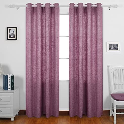 Deconovo Recycled Cotton Grommet Window Curtains for Home, 52×95, Fuchsia