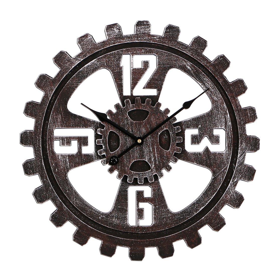 CT-Tribe 23Zoll (58cm) Groß Vintage Lautlos Zahnrad Wanduhr Uhr Wall Clock ohne Tickgeräusche Mit arabische Ziffern