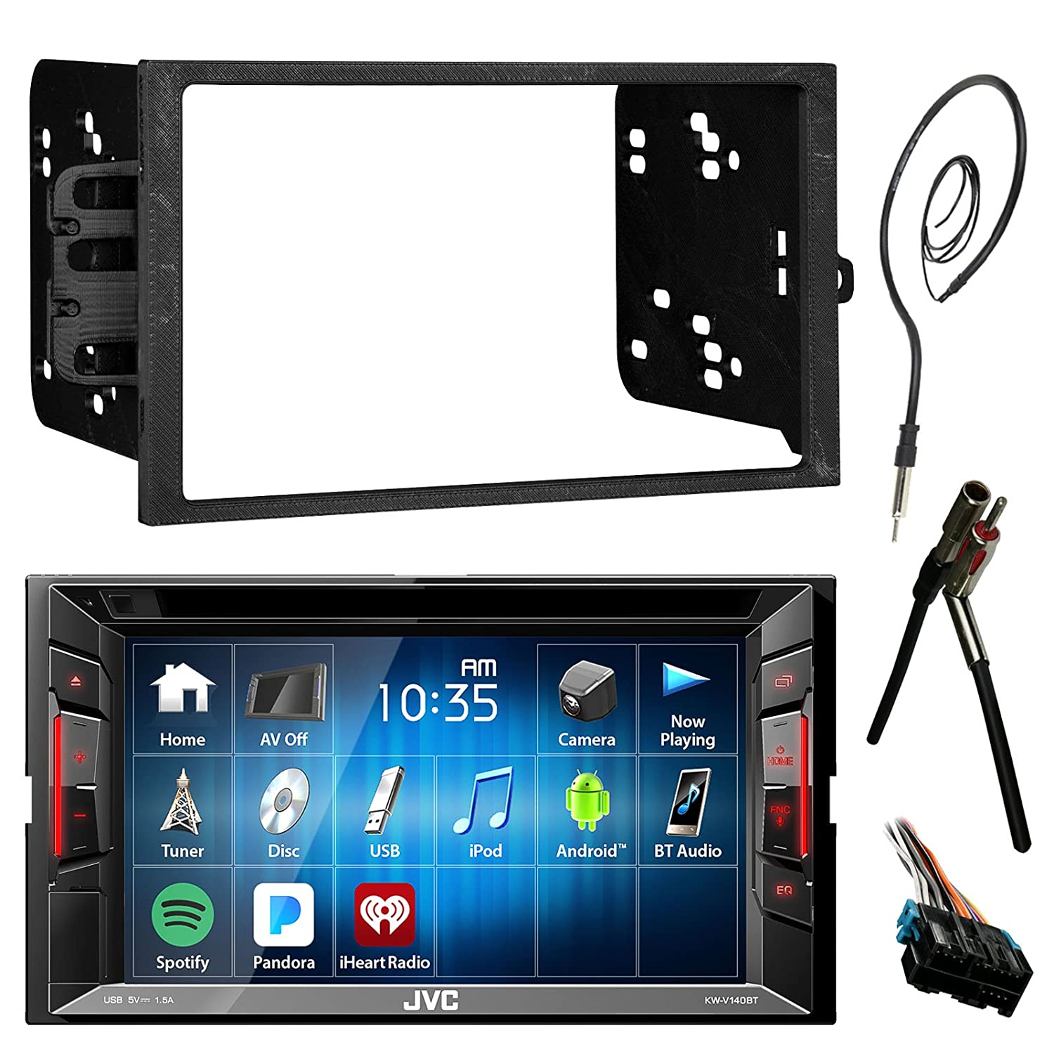 "Amazon.com: JVC 6.2"" Touch Screen Bluetooth CD DVD Car Stereo Receiver  Bundle Combo with Metra Dash Installation Trim Kit, Wiring Harness For GM  Vehicles, ..."