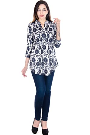 Teej Women's Designer Top Tunic Short Kurti Printed Tops