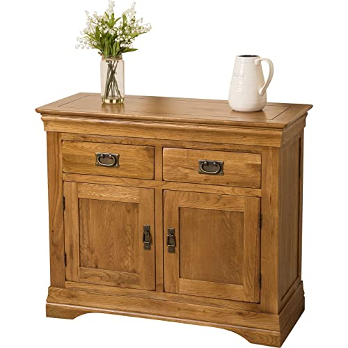 FRENCH RUSTIC SOLID OAK SMALL SIDEBOARD CABINET FURNITURE NEW