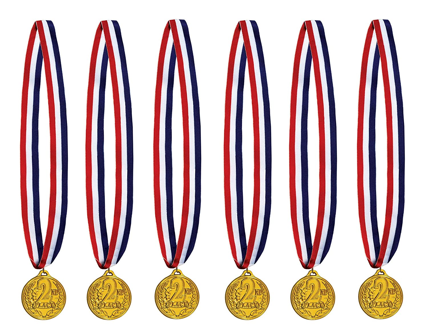 6 Piece 30 Red//White//Blue//Gold Beistle 53566 2nd Place Medal with Ribbon