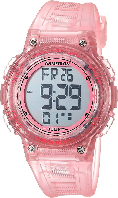 Amazon.com: Armitron Sport Women's 45/7086TPK Digital Chronograph  Translucent Pink Resin Strap Watch: Watches