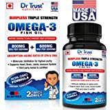 Dr Trust Burpless Triple Strength Omega 3 Fatty Acid Fish Oil With 800Mg Epa & 600 Mg Dha - 60 Capsules (Made In Usa)