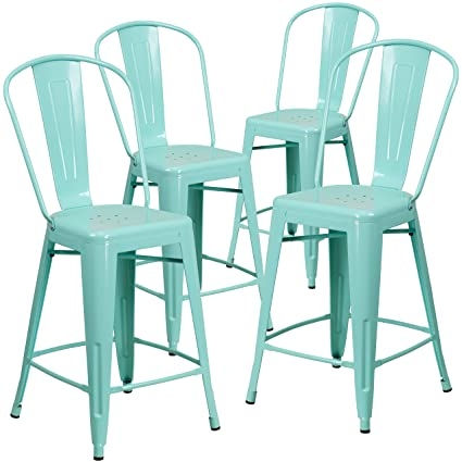 Amazoncom Flash Furniture 4 Pk 24 High Mint Green Metal Indoor