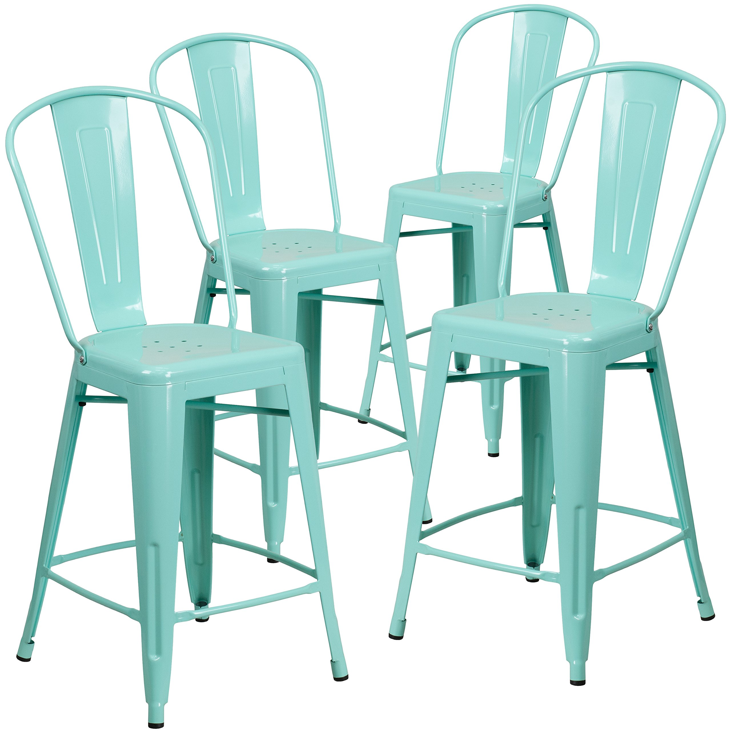 Flash Furniture 4 Pk. 24'' High Mint Green Metal Indoor-Outdoor Counter Height Stool with Back