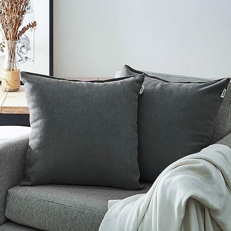 Topfinel Juego 2 Fundas Cojines Cama Sofas de Chenilla Algodón Lino Duradero Almohadas Decorativa de Color sólido para Sala de Estar sofás Camas ...