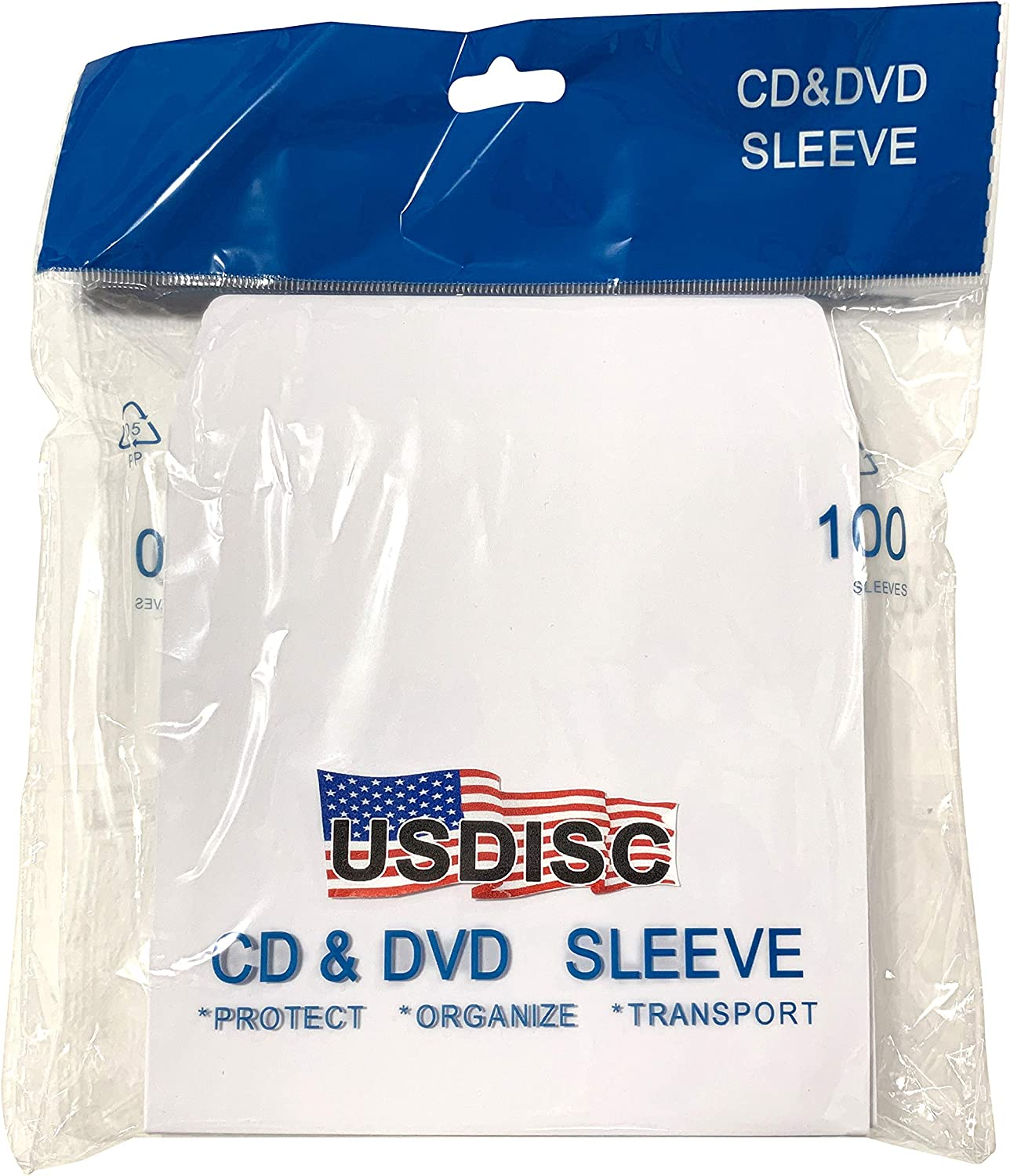Pack of 400 Flap White USDISC Paper Sleeves 100g No Window