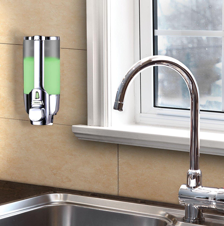 Dispensador de jabón líquido con moldura de pared. Para prevenir el óxido baño y ducha. Apto para dispensador de gel de ducha, champú, loción de lavado, ...