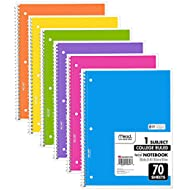 Mead Spiral Notebook, 6 Pack of 1-Subject College Ruled Spiral Bound Notebooks, Cute school Notebooks Pantone Colors, 70 Pages