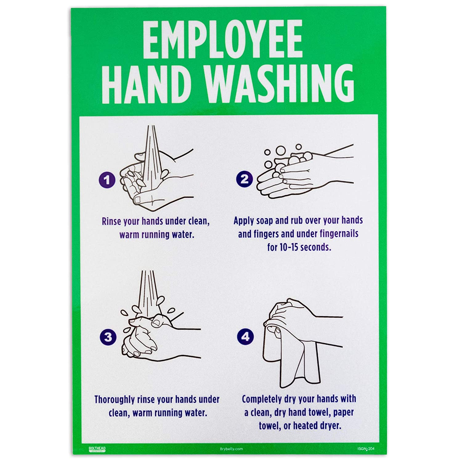 Employee Hand Washing Decal Sign - Public Restroom or Kitchen Sink Signage with Pictures - Handwashing Guide for Work, School, Restaurant, Business - Personal Hygiene Sticker Poster for Commercial Use
