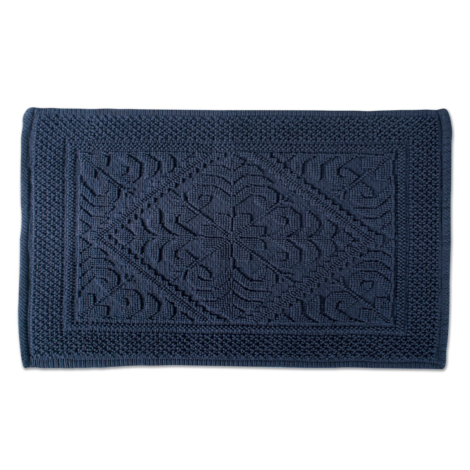 """DII Ultra Soft Luxury Spa Jacquard Damask Bath Mat Place in Front of Shower, Vanity, Bath Tub, Sink, and Toilet, 20 x 31"""" - Navy"""