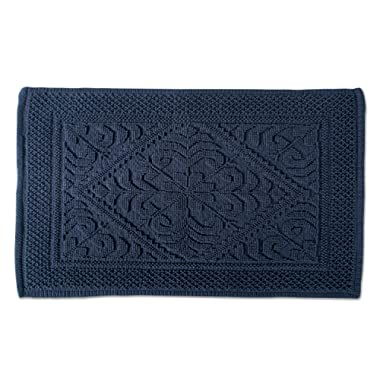 DII Ultra Soft Luxury Spa Jacquard Damask Bath Mat Place in Front of Shower, Vanity, Bath Tub, Sink, and Toilet, 20 x 31  - Navy