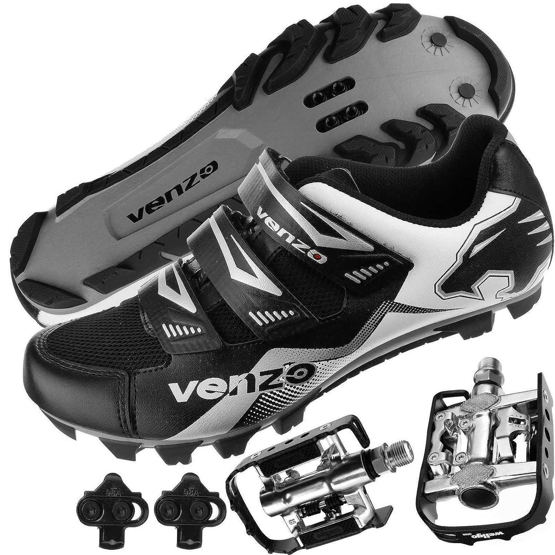 Venzo マウンテンバイク自転車サイクリングシマノSpdのシューズ+マルチユースペダル ヨーロッパ42.5、米国男性8.5   B00PJITT50