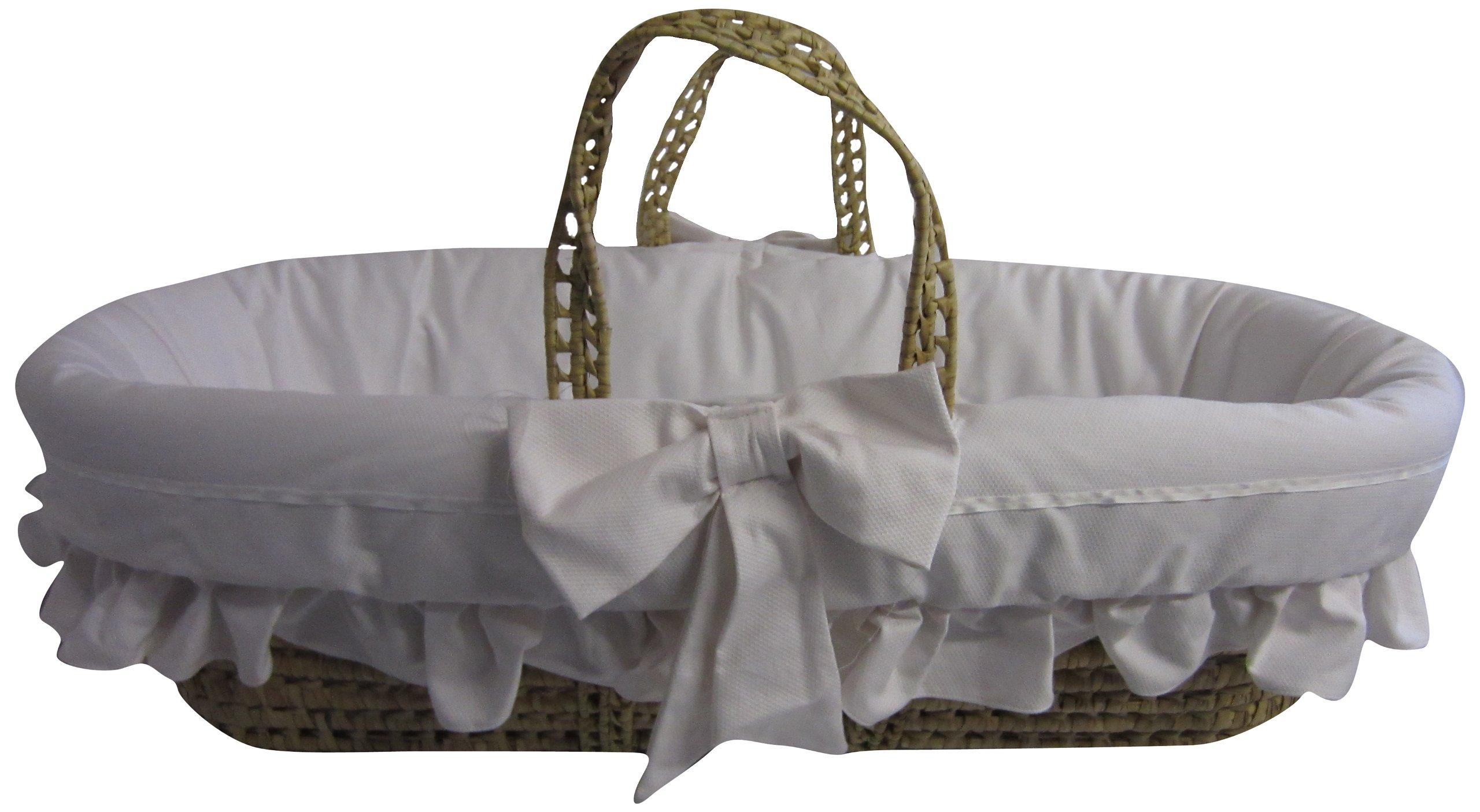 Baby Doll Bedding Satin Trim Moses Basket, White by BabyDoll Bedding