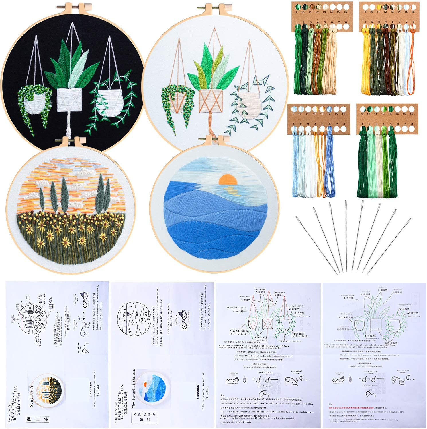 Colorful Embroidery Floss and Instruction for DIY Sewing Beginner Sewing Needle Include Stamped Embroidery Cloth with Flower Sunset and Plant Pattern 4 Sets Embroidery Starter Kit Embroidery Hoop