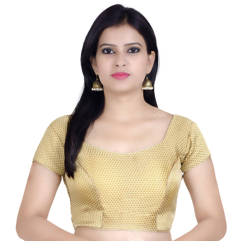 Chandrakala Women's Designer Bollywood Readymade Gold Saree Blouse Padded Brocade Choli (B106)